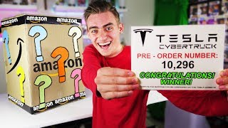 I GOT A TESLA CYBERTRUCK FROM A $5000 AMAZON MYSTERY BOX!! (GIANT UNBOXING!) - Giveaway