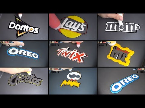 snack brand logo pancake art - oreo, twix, doritos, pringles, kinder joy, cheetos, m&m's