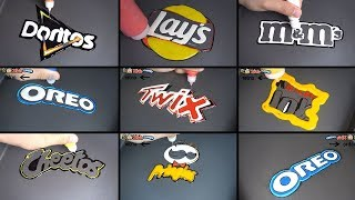 snack brand logo pancake art - oreo, twix, doritos, pringles, kinder joy, cheetos, m&m's