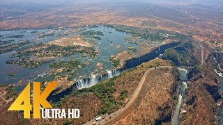 4K Victoria Falls - Africa, Zambia & Zimbabwe - Nature Relaxation Video & Aerial Views