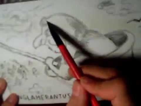 Как нарисовать бабу Ягу в ступе простым карандашом от KONGLAMERANTUS 2014