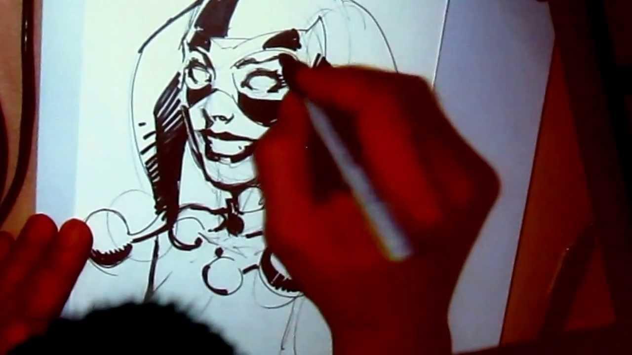 the joker and harley comic drawing