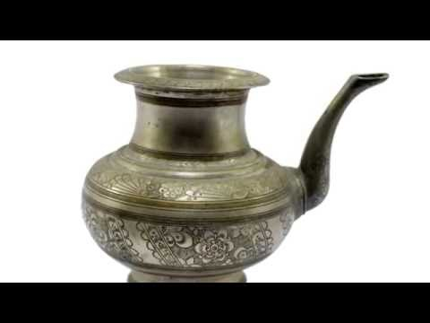 Antique Indian Unique Hand Crafted Beautiful Work Big Brass Water Drinking Pot.