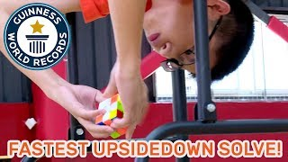 Fastest time to solve a Rubik's Cube upside down - Guinness World Records Day 2018