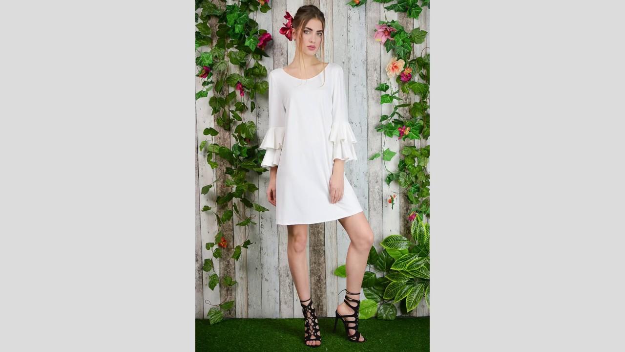 d5b97ed745 Czeremcha - biała sukienka z falbanami przy rękawach. Milita Nikonorov -  suknie ślubne
