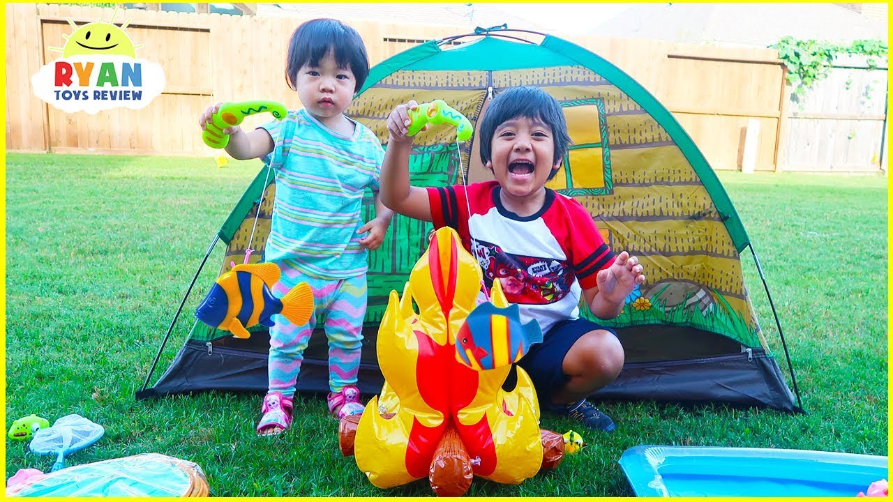 Ryan Pretend Play Camping Toys and Fishing with family fun activities!!!