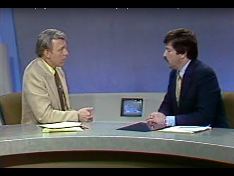 KCCI TV-8 News at Six - April 1983 - Des Moines, Iowa George Wylie with Governor Terry Branstad