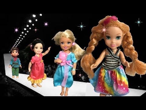 Anna and Elsa Toddlers Fashion Show Barbie Summer Collection # 1 Chelsea Ariel Disney Toys In Action