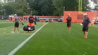 Starter Baker Mayfield and Browns'OC Todd Haley at today's practice.