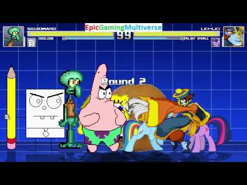 SpongeBob Characters VS Lei-Lei And My Little Pony Characters And Annoying Orange In A MUGEN Match