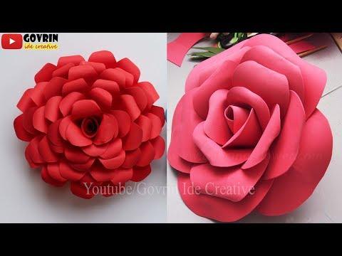 Giant Paper Rose - Cara Membuat Bunga Mawar Indah dari Kertas Origami - Bunga Mawar Besar