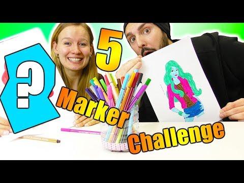 5 MARKER CHALLENGE mit Barbie! Kaan VS Kathi im Ausmal-Duell! Wer kann besser malen?