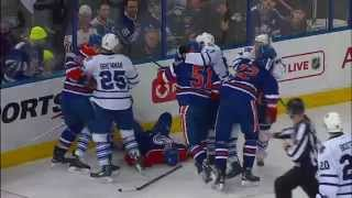 Watch as Toronto Maple Leafs forward Nazem Kadri connects with Edmonton Oilers forward Matt Fraser with an accidental hit to the head.