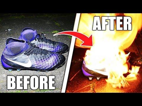 BURNING my $300 FOOTBALL BOOTS PRANK!! *VERY DANGEROUS* 😱🔥