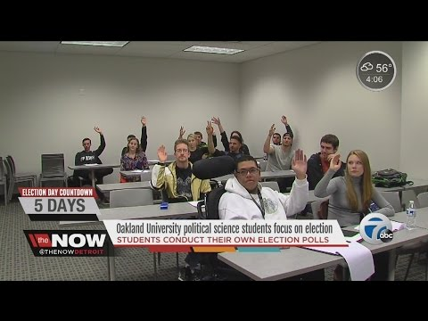 Oakland University political science students conduct their own election poll
