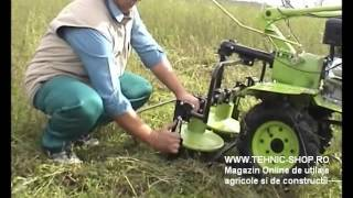 Repeat youtube video Motocultor BSR 1100C cu cositoare rotativa cu priza de putere