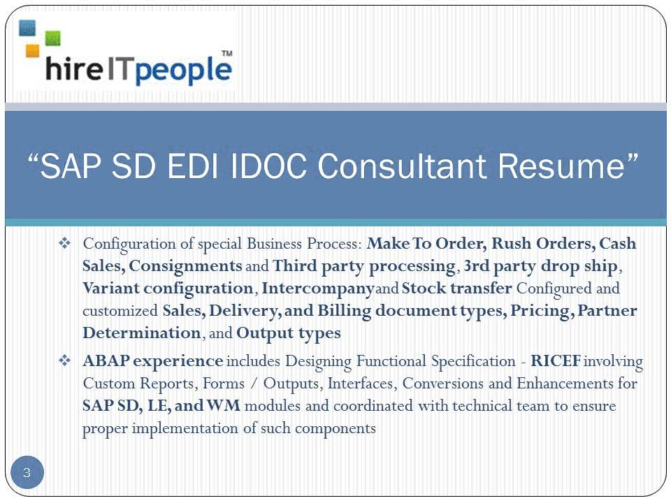 SAP ABAP SD EDI IDOC Consultant Resume YouTube