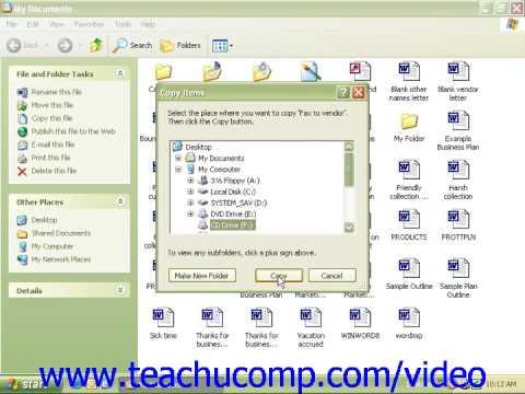 Windows XP Tutorial Saving Files To A CD Microsoft Training Lesson 6.14