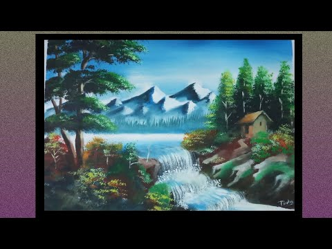 How to paint a beautiful scenery | Poster Colour Demonstration | Landscape painting
