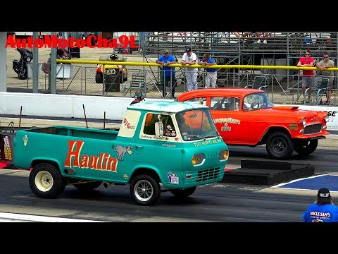 Old school muscle cars 60s GASSERS drag racing at Byron Dragway