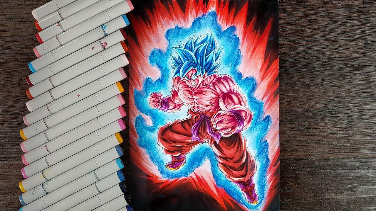 Drawing Goku Super Saiyan Blue Kaioken Going Beyond The Power Of Gods