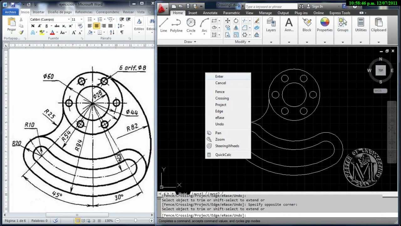 Master of engineering autocad 2012 modelo 2d 01 youtube for 2d design online free