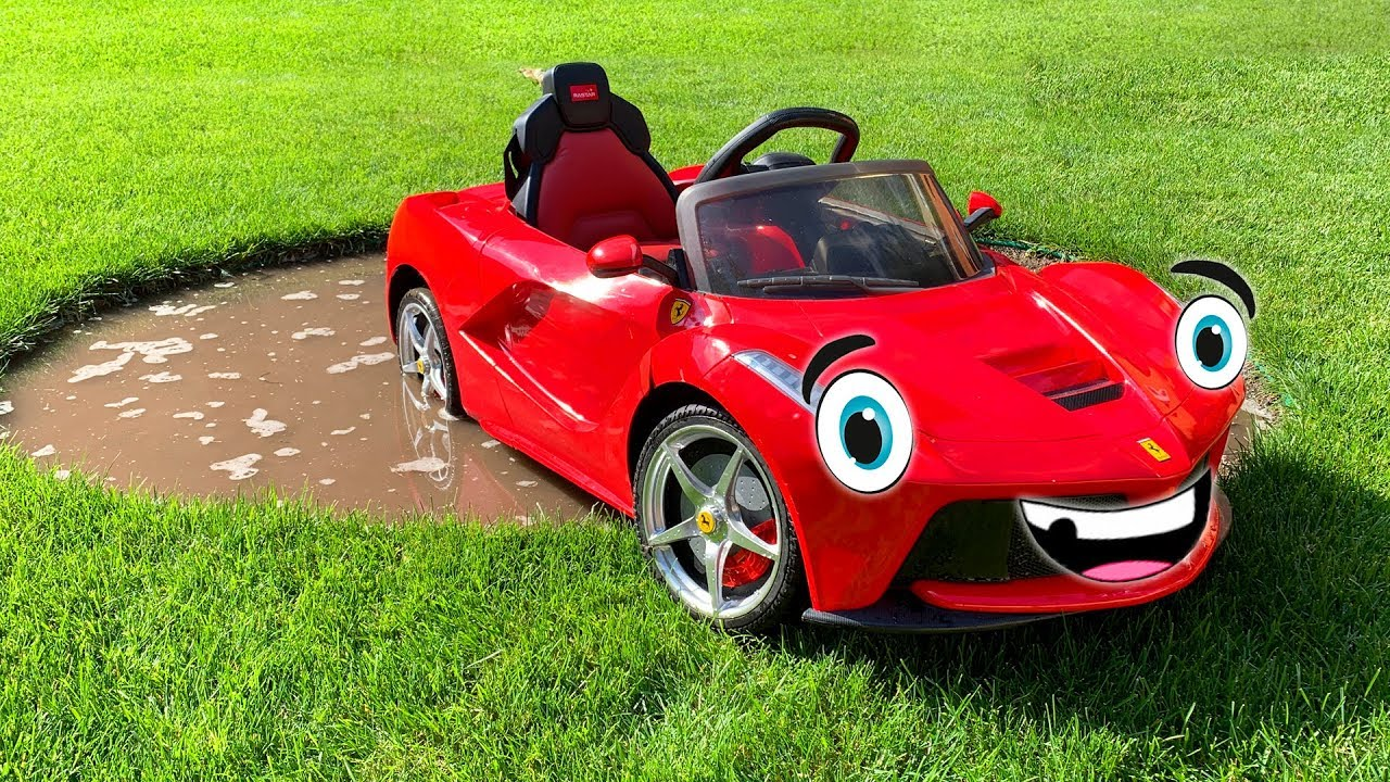 Ferrari power wheels car is stuck - Jeep AMG 63 to the rescue