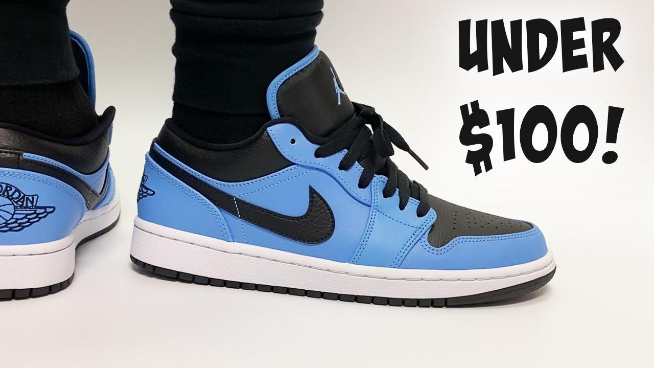 Jordan Sneakers UNDER $100! Jordan 1 Low University Blue ON FEET!