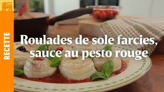 Roulades de sole farcies, sauce au pesto rouge