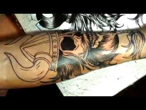 Bearded Skull Tattoo Time Lapse Youtube