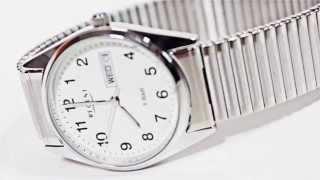 Produktvideo zu Armbanduhr für Damen & Herren mit Metallzugarmband Regent Weiß