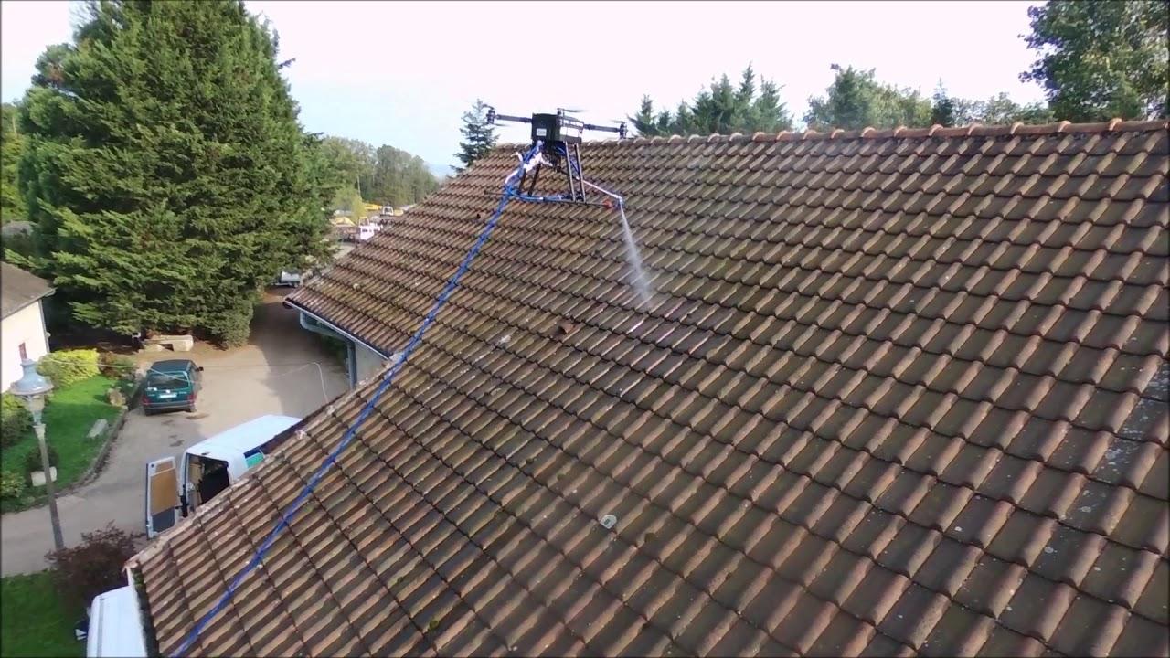 C-DRONE Nettoyage de toiture en drone - YouTube