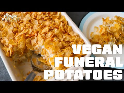 Vegan Funeral Potatoes | Cheesy Hash Brown Casserole w/ Cream of Chicken Soup | Easy Holiday Side