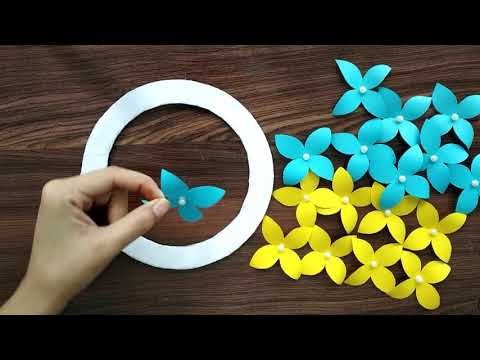 DIY - PAPER FLOWER WALL HANGING | PAPER Lily FLOWER CRAFT| PAPER Lily WALL CRAFT