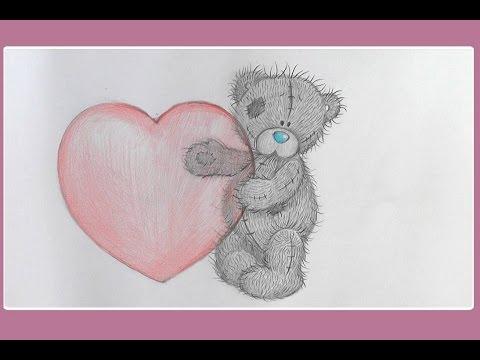 Как нарисовать мишку тедди с сердечком поэтапно