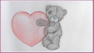 Уроки рисования. Как нарисовать мишку ТЕДДИ с сердечком  на ДЕНЬ СВЯТОГО ВАЛЕНТИНА(Как легко и просто, а главное красиво нарисовать мишку Тедди! Как нарисовать рисунок на День Валентина...., 2015-02-08T12:42:07.000Z)