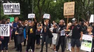 Protest outside Gupta family's Saxonworld home