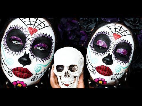 DIA DE LOS MUERTOS / SUGAR SKULL HALLOWEEN MAKEUP TUTORIAL   Melly Sanchez