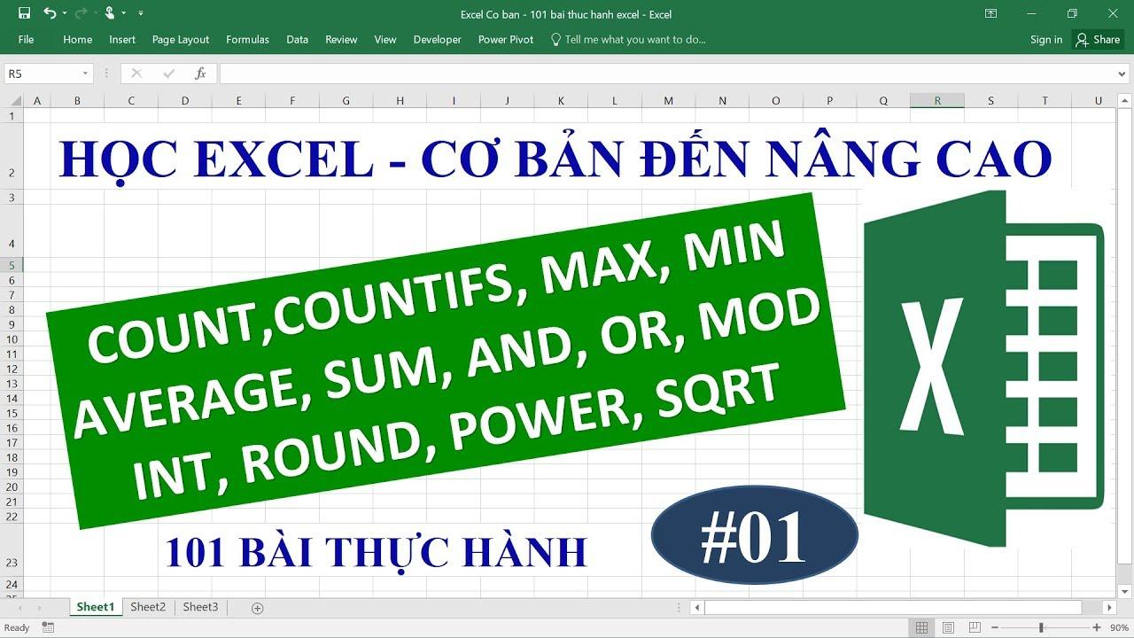 Học Excel từ cơ bản đến nâng cao – Bài 01 – Hàm Sum, Count, Countifs, Min, Max, Average, Round…