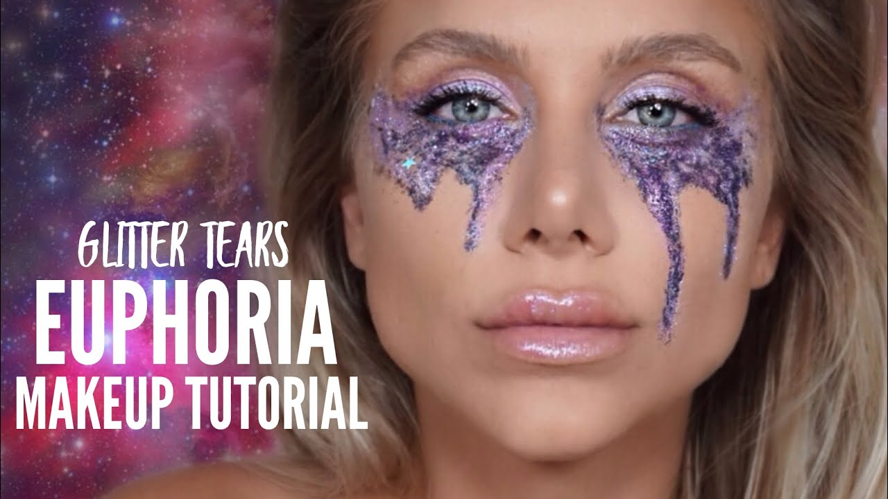 Euphoria Makeup Tutorial Glitter Tears Makeup Taylor Bee Youtube