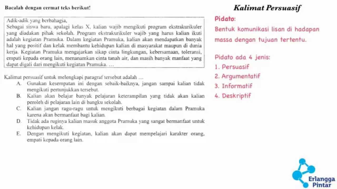 Bahasa Indonesia SMA   Kalimat Persuasif   YouTube