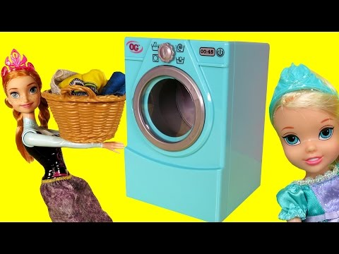 Thumbnail: WASHER ! Laundry - Elsa & Anna toddlers - Dirty Dress - Accident - Foam - Mess - Soap - Playing