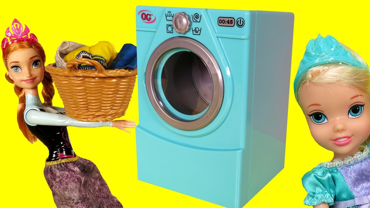 Download WASHER ! Laundry - Elsa & Anna toddlers -  Foam - Mess - Soap