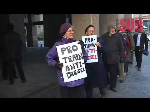 Protesters upset air-rail link will be diesel