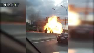 Момент взрыва автомобиля на МКАД попал на видео
