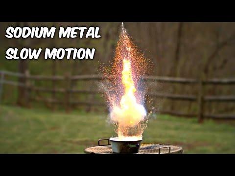 Sodium Metal in Water in Slow Motion