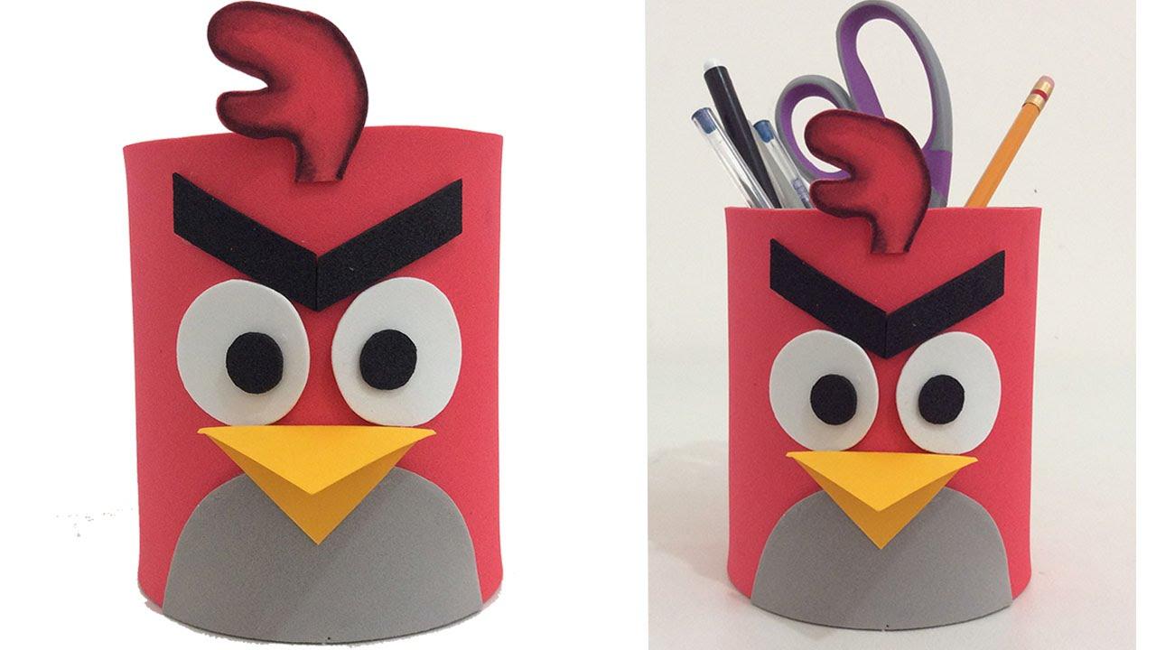 Porta l pices de angry birds youtube - Como hacer un lapicero de madera ...