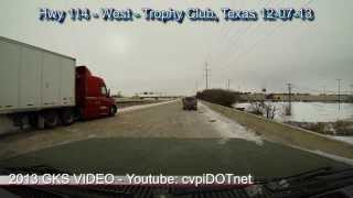 Texas winter storm December 2013 - driving on cobblestone ice - Hwy 114 Trophy Club