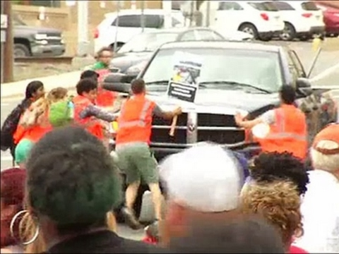 Raw: Pickup Truck Plows Through NC May Day March