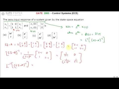 GATE 2003 ECE Zero input response of a system with state space equations